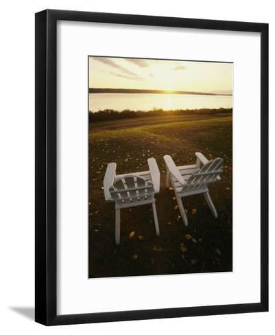 Two Chairs in the Sunlight at Chesuncook Lake in Maine--Framed Art Print