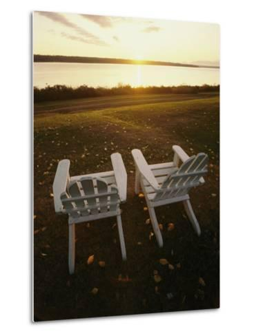 Two Chairs in the Sunlight at Chesuncook Lake in Maine--Metal Print