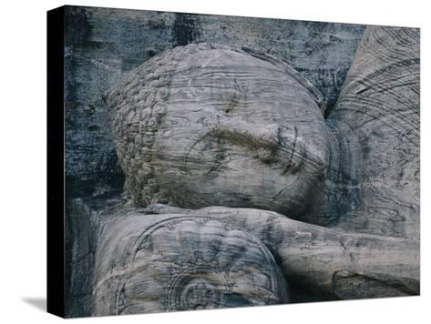 The Head of a Forty-Four-Foot-Long Granite Statue of a Reclining Buddha Entering Nirvana--Stretched Canvas Print
