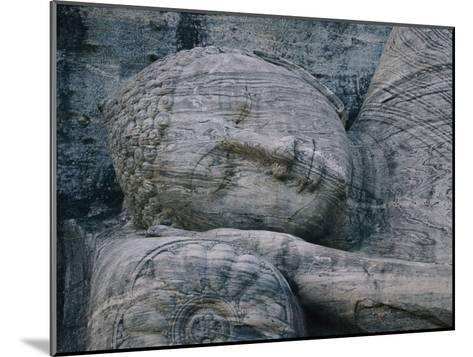 The Head of a Forty-Four-Foot-Long Granite Statue of a Reclining Buddha Entering Nirvana--Mounted Photographic Print