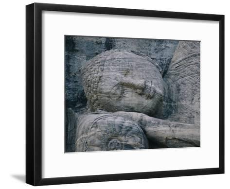 The Head of a Forty-Four-Foot-Long Granite Statue of a Reclining Buddha Entering Nirvana--Framed Art Print