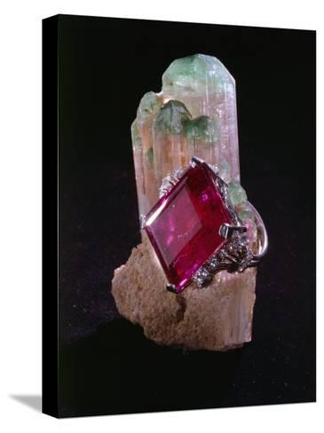 Tourmaline Resting on a Crystal-Victor R^ Boswell, Jr-Stretched Canvas Print