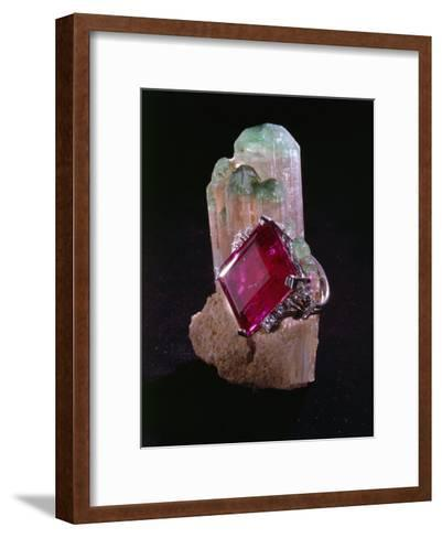 Tourmaline Resting on a Crystal-Victor R^ Boswell, Jr-Framed Art Print