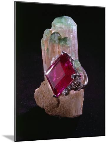 Tourmaline Resting on a Crystal-Victor R^ Boswell, Jr-Mounted Photographic Print
