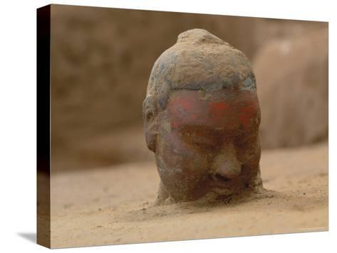 The Head, Encrusted with Dirt, of a Terra-Cotta Soldier Just Emerging-O^ Louis Mazzatenta-Stretched Canvas Print