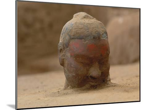 The Head, Encrusted with Dirt, of a Terra-Cotta Soldier Just Emerging-O^ Louis Mazzatenta-Mounted Photographic Print