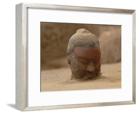 The Head, Encrusted with Dirt, of a Terra-Cotta Soldier Just Emerging-O^ Louis Mazzatenta-Framed Art Print