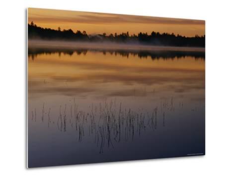 A Curtain of Mist Veils the Surface of Kidney Pond-Phil Schermeister-Metal Print
