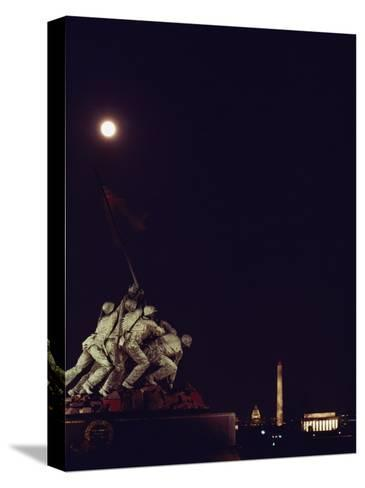 Night View of the Iwo Jima Monument under a Full Moon-Kenneth Garrett-Stretched Canvas Print