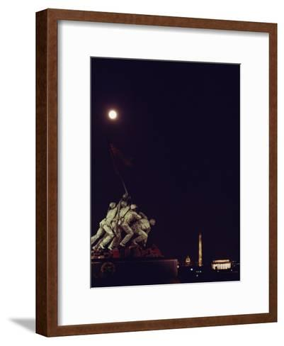 Night View of the Iwo Jima Monument under a Full Moon-Kenneth Garrett-Framed Art Print
