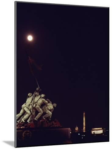 Night View of the Iwo Jima Monument under a Full Moon-Kenneth Garrett-Mounted Photographic Print