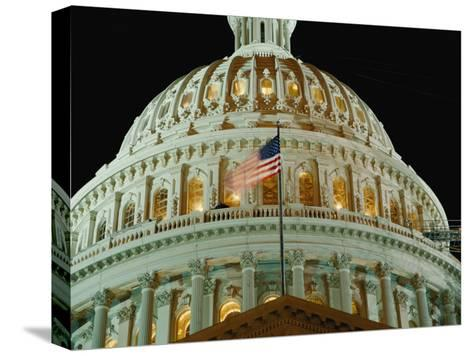 Night View of the Illuminated Dome of the Capitol Building-Vlad Kharitonov-Stretched Canvas Print