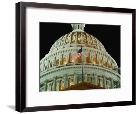 Night View of the Illuminated Dome of the Capitol Building-Vlad Kharitonov-Framed Art Print