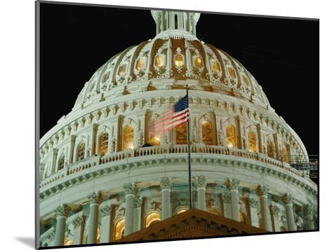 Night View of the Illuminated Dome of the Capitol Building-Vlad Kharitonov-Mounted Photographic Print