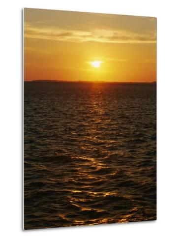 A View of Tampa Bay Taken at Sunset from the Sunshine Skyway Bridge-Raymond Gehman-Metal Print