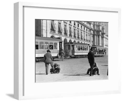 Bootblacks at Work in Front of the Ministry of Marine on the Praca Do Comercio in 1936-W^ Robert Moore-Framed Art Print