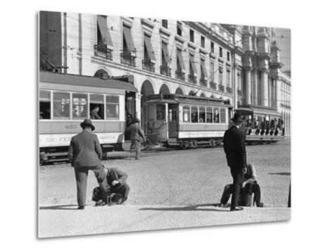 Bootblacks at Work in Front of the Ministry of Marine on the Praca Do Comercio in 1936-W^ Robert Moore-Metal Print