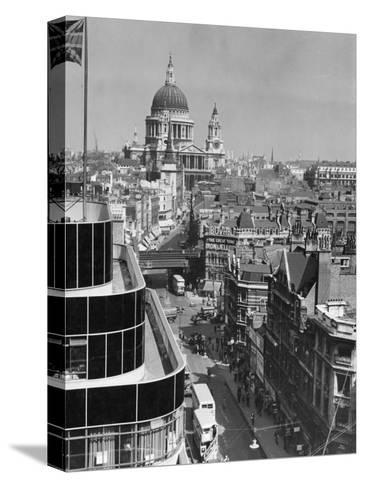 Elevated View of Fleet Street and Saint Pauls Cathedral-W^ Robert Moore-Stretched Canvas Print