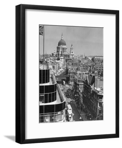 Elevated View of Fleet Street and Saint Pauls Cathedral-W^ Robert Moore-Framed Art Print