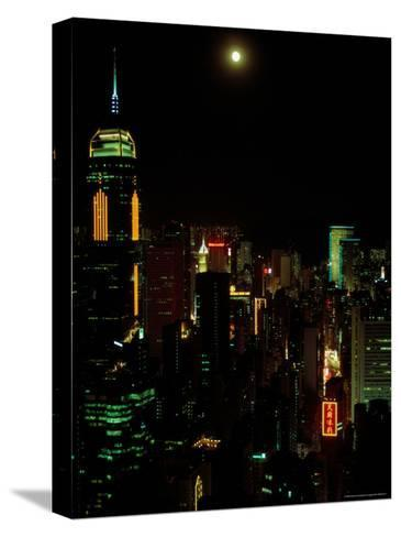 The Moon over the City Lights of Hong Kong-Todd Gipstein-Stretched Canvas Print