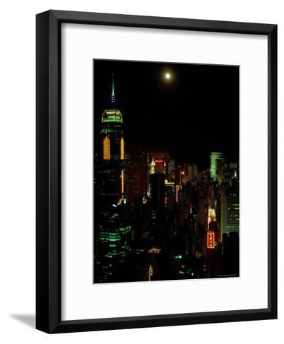 The Moon over the City Lights of Hong Kong-Todd Gipstein-Framed Art Print