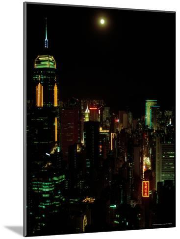The Moon over the City Lights of Hong Kong-Todd Gipstein-Mounted Photographic Print