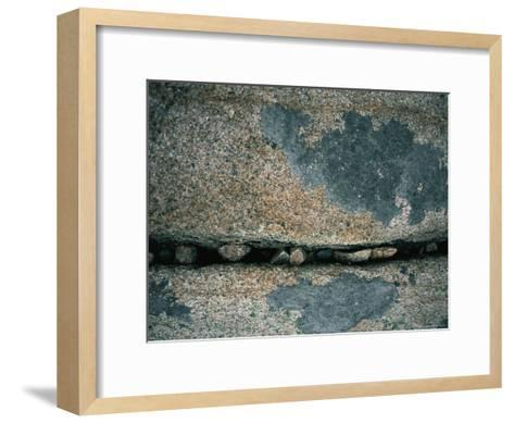 Stones Fill a Crack in a Large Rock-Amy & Al White & Petteway-Framed Art Print