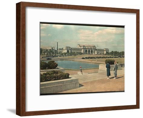 Two Women Look Across Captial Park and its Reflecting Pool Toward Union Station-Willard Culver-Framed Art Print