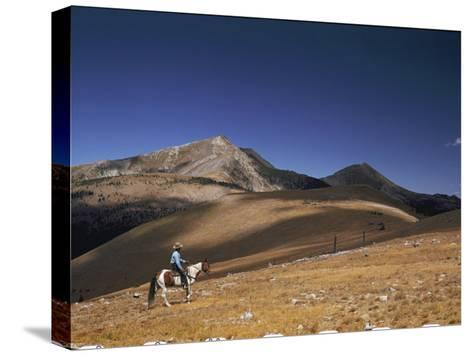 A Horseman Views the Truchas Peaks from Above the Timberline-Justin Locke-Stretched Canvas Print