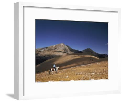 A Horseman Views the Truchas Peaks from Above the Timberline-Justin Locke-Framed Art Print