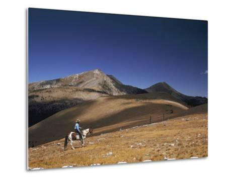 A Horseman Views the Truchas Peaks from Above the Timberline-Justin Locke-Metal Print