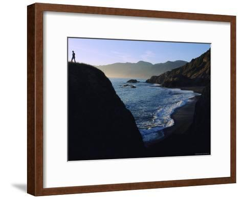 A Person Stands on an Overlook Above a Rocky Shoreline-Melissa Farlow-Framed Art Print