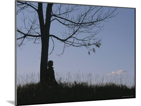 A Young Girl Leans against a Leaf-Less Tree on a Hill-Roy Gumpel-Mounted Photographic Print