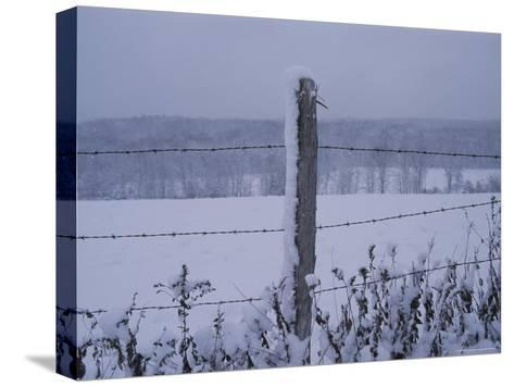 A Wire Fence Cordons off a Snow-Covered Field-Roy Gumpel-Stretched Canvas Print