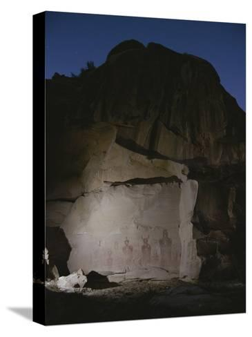 Indian Pictographs are Illuminated at Night-Stephen Alvarez-Stretched Canvas Print