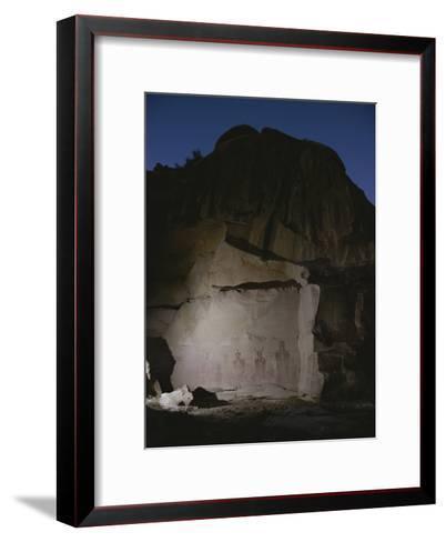 Indian Pictographs are Illuminated at Night-Stephen Alvarez-Framed Art Print
