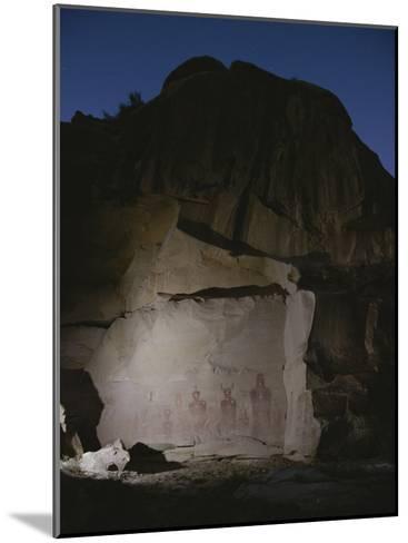 Indian Pictographs are Illuminated at Night-Stephen Alvarez-Mounted Photographic Print