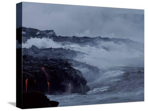 Surf Pounds a Lava Flow in Hawaii-Marc Moritsch-Stretched Canvas Print