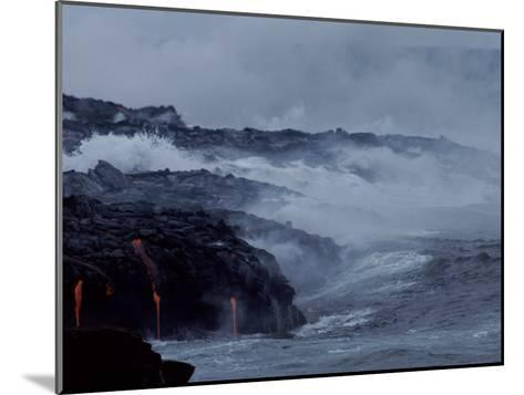 Surf Pounds a Lava Flow in Hawaii-Marc Moritsch-Mounted Photographic Print