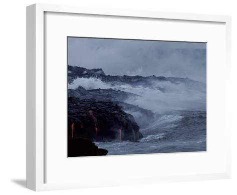 Surf Pounds a Lava Flow in Hawaii-Marc Moritsch-Framed Art Print