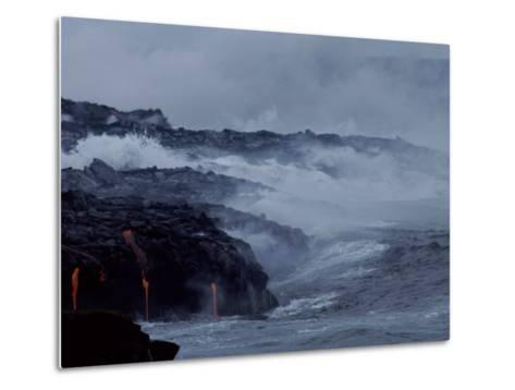 Surf Pounds a Lava Flow in Hawaii-Marc Moritsch-Metal Print