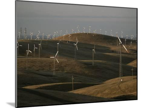 Rows of Windmills on Open Hills Produce Alternative Sources of Energy-Sam Kittner-Mounted Photographic Print