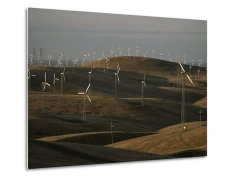 Rows of Windmills on Open Hills Produce Alternative Sources of Energy-Sam Kittner-Metal Print