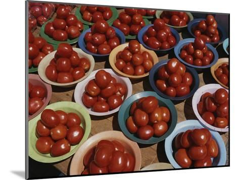 Roma Tomatoes Fill Colorful Bowls at a Vendors Stall-Tino Soriano-Mounted Photographic Print