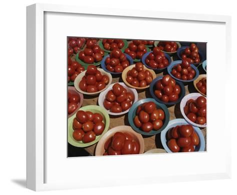 Roma Tomatoes Fill Colorful Bowls at a Vendors Stall-Tino Soriano-Framed Art Print