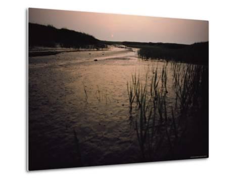 The Sun Rises over a Salt Marsh in Maine-Bill Curtsinger-Metal Print