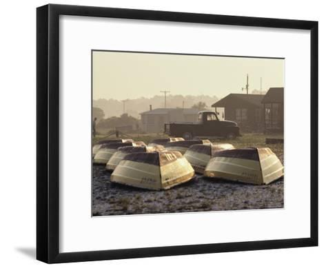 Rows of Upturned Wooden Rowboats on Chincoteague Island-Medford Taylor-Framed Art Print
