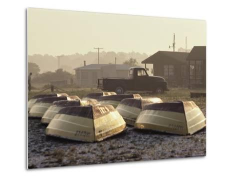 Rows of Upturned Wooden Rowboats on Chincoteague Island-Medford Taylor-Metal Print