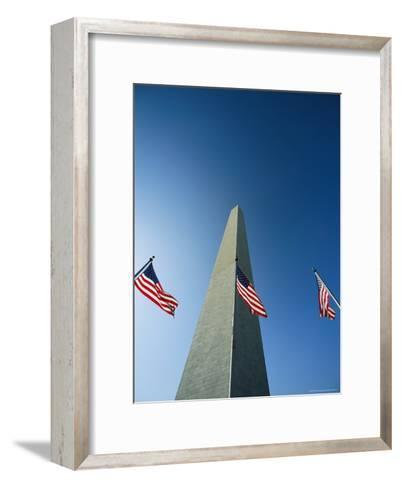View from the Ground of the Washington Monument and American Flags-Kenneth Garrett-Framed Art Print