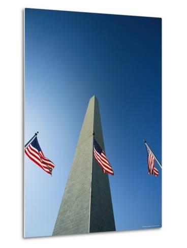 View from the Ground of the Washington Monument and American Flags-Kenneth Garrett-Metal Print